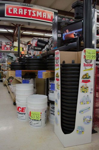 We built this sturdy shelf with just scrap wood and the Handy Bucket Builder lids and 5-gallon buckets.