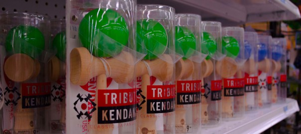 Kendama Toys lined up at Smith & Edwards