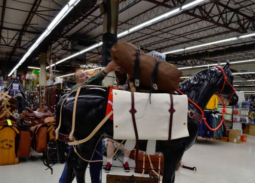 Adding a bag to our packhorse at Smith & Edwards
