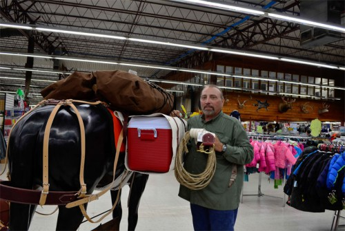 Scott LeRoy telling us about the rope, bags, and coolers you can use for horse packing and trail riding here at Smith and Edwards