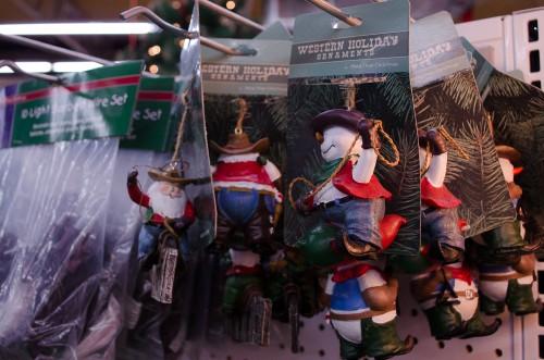 Cowboy Santas and Snowmen at Smith and Edwards