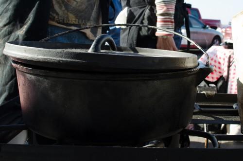 Dutch oven apple cobbler - cooling off