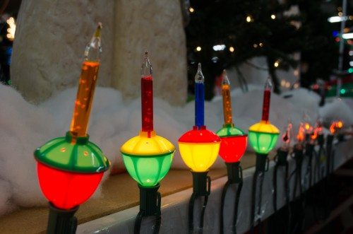 Bubbling Christmas lights, front, and flickering flame lights in the background at Smith & Edwards