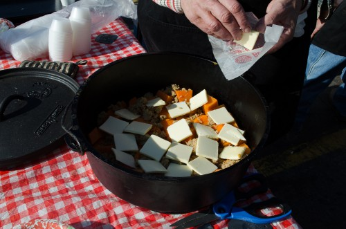 Dutch oven candied yams - butter