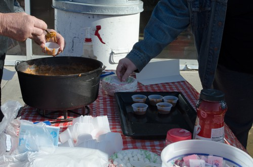 Dutch oven chili - serving up