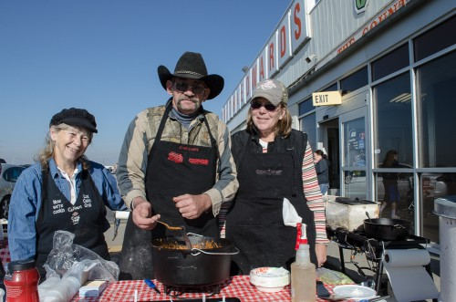 Colleen, left, with her assistants Skip and Audrey - Dutch Oven caterers!
