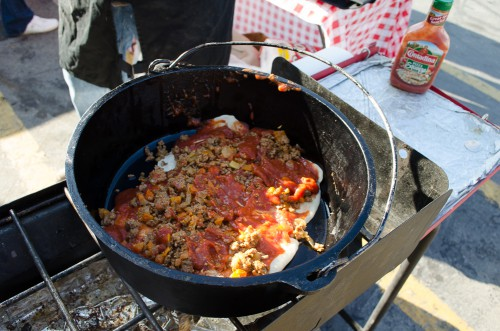 Dutch oven pizza - toppings