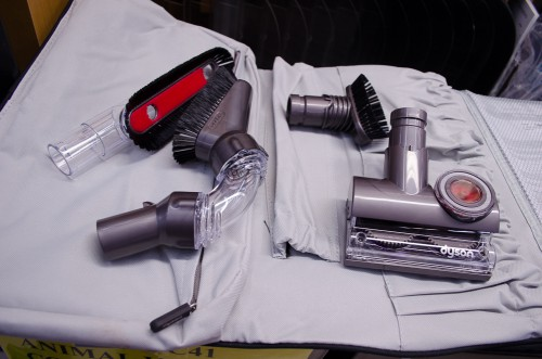 DC41 Dyson Animal Complete Vacuum comes with several attachments in a nice bag.