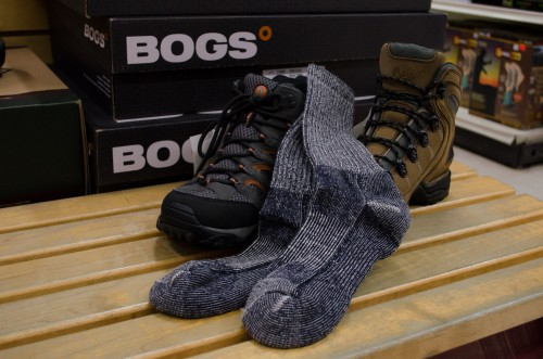 Merrell and Danner hiking boots and Merino wool socks at Smith & Edwards