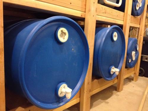 Wooden Water Barrel cradles