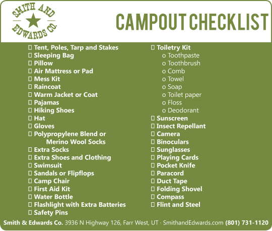 Scout Camp, Fishing, & Camping Checklist - Everything You Need