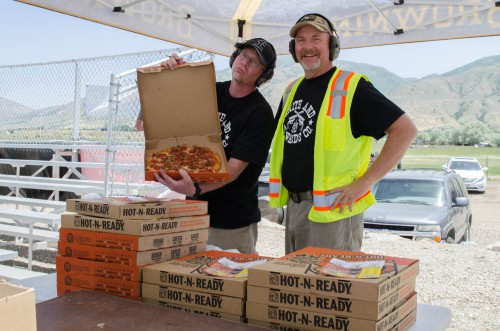 Mike and Eric ready to pass out pizza at Range Day