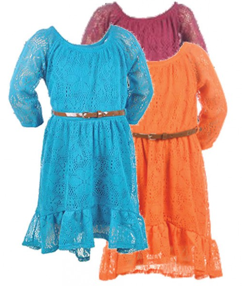 Girls' Belted Lace Dresses
