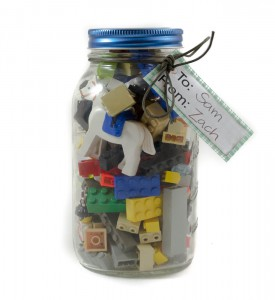 Give your son Lego in a mason jar!