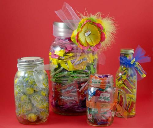 Mason Jar candy jars gift idea
