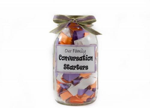 Mason jar conversation starters gift