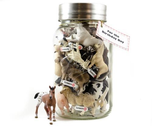 Farm animals in a mason jar gift idea