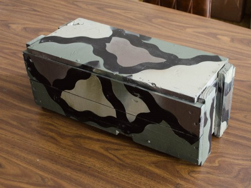 Camo painted wooden ammo box with Plasti Dip
