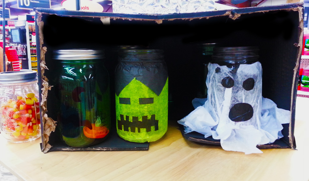 Use tissue paper to make fun faces on mason jars!