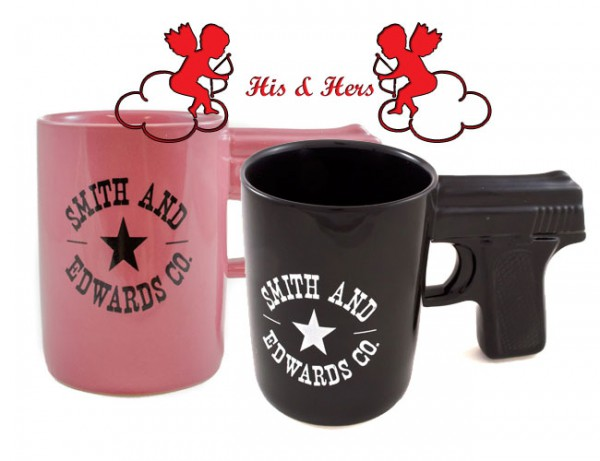 Pink & Black Smith and Edwards Gun Mugs