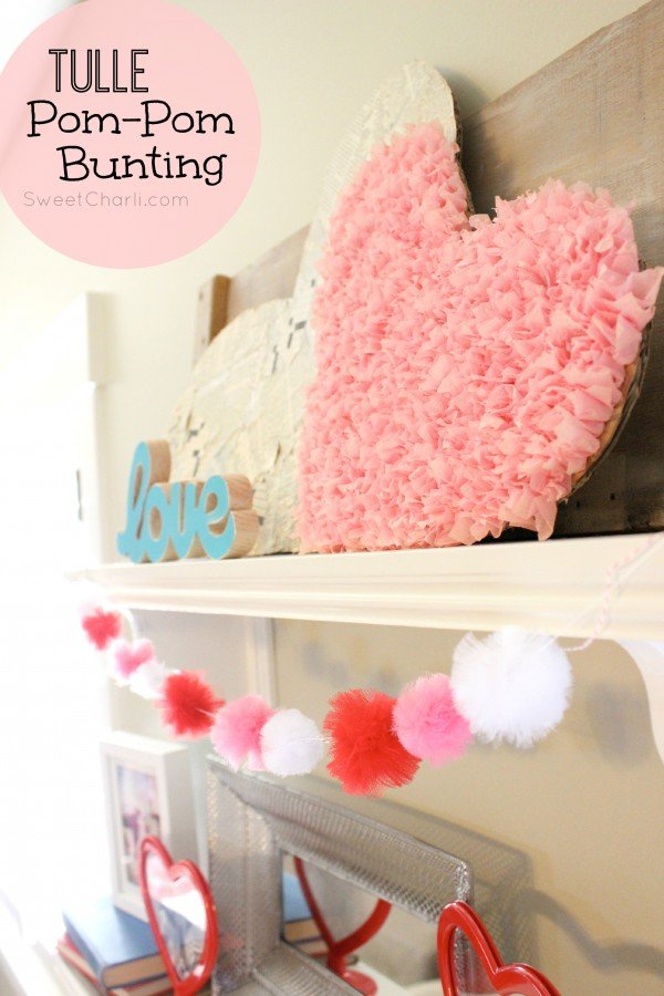 Valentine Bunting made of Tulle