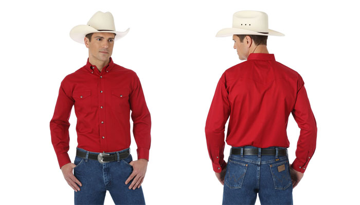 Wrangler Desert Twill shirt in Red at Smith & Edwards