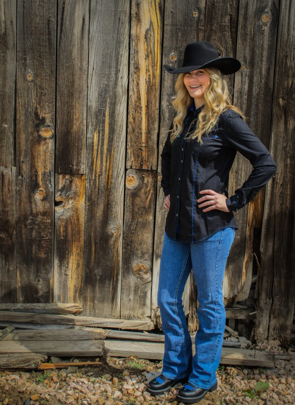Kelsey at Smith & Edwards models this Rock 47 and Wrangler outfit