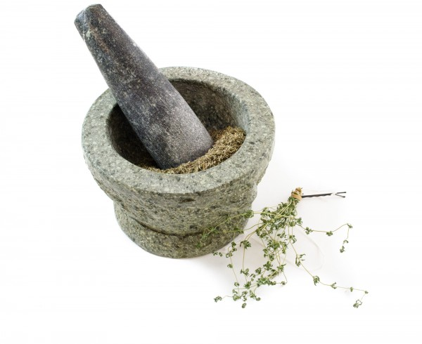 Thyme in mortar & pestle