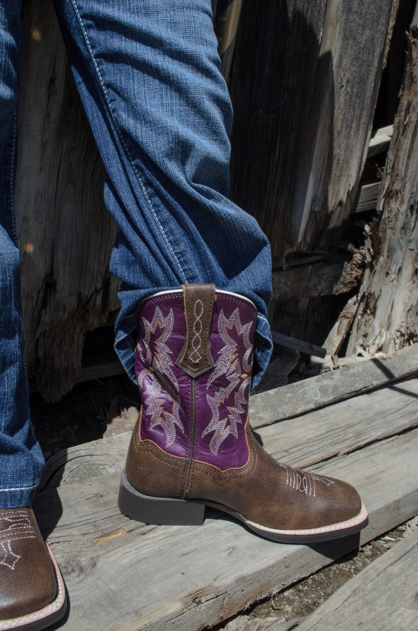 Girls' Rodeo boots, modeled by Kwincee