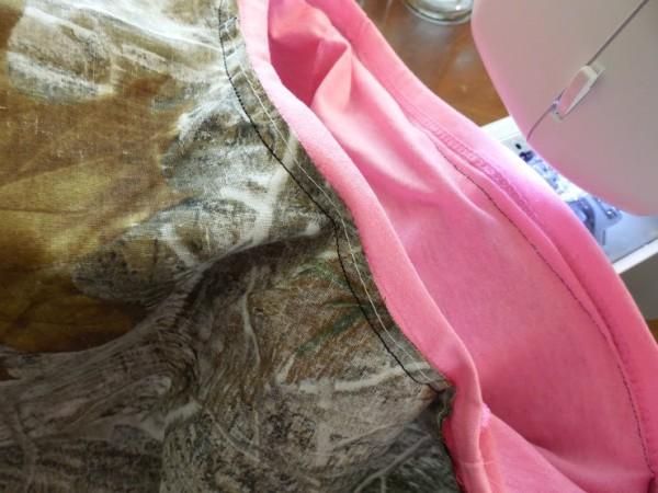 Sew the bandana skirt to the tee