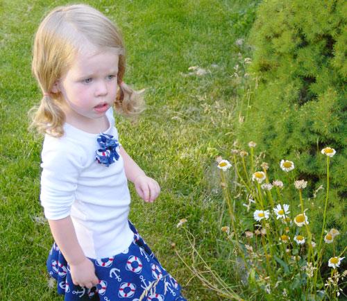Bandana skirt dress with flower embellishment