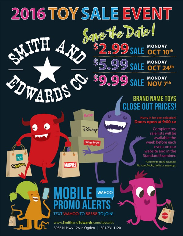 Smith & Edwards' 2016 Toy Sale dates