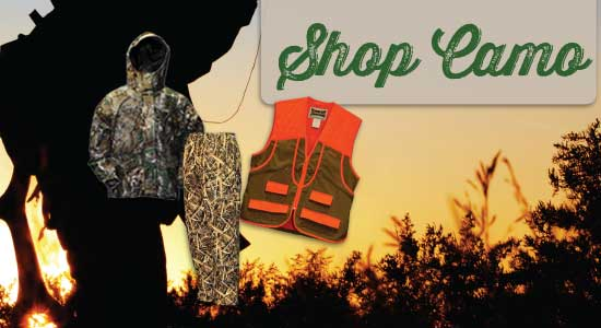 Click to shop hunting camo & blaze orange at Smith & Edwards!