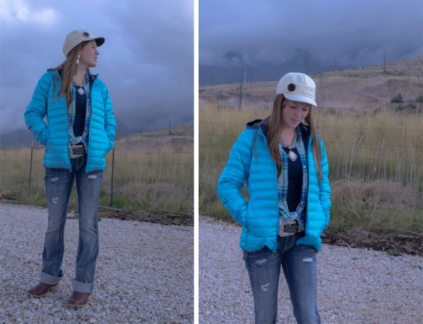 Jerica modeling a stormy October outfit: Stormy Kromer hat & Columbia Jacket