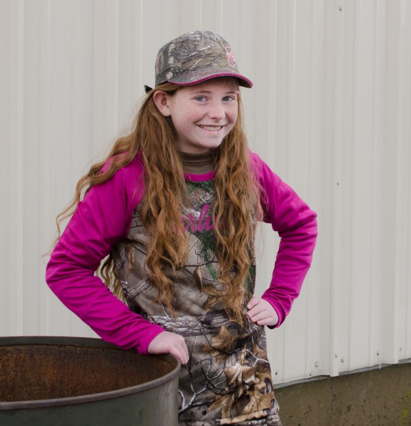 Emileigh loves this pink-sleeved girls' Carhartt camo shirt!