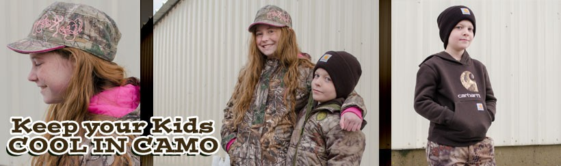 Kids' Camo, Carhartt, and Polypropelene Thermals to stay warm and cool!