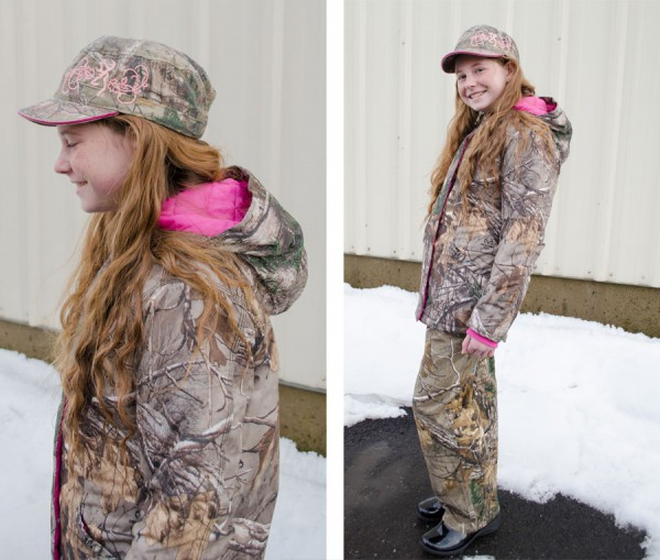 Girls' camo jacket with pink liner and ladies Browning camo hat