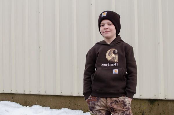 Sam with his boys Carhartt sweatshirt and hat