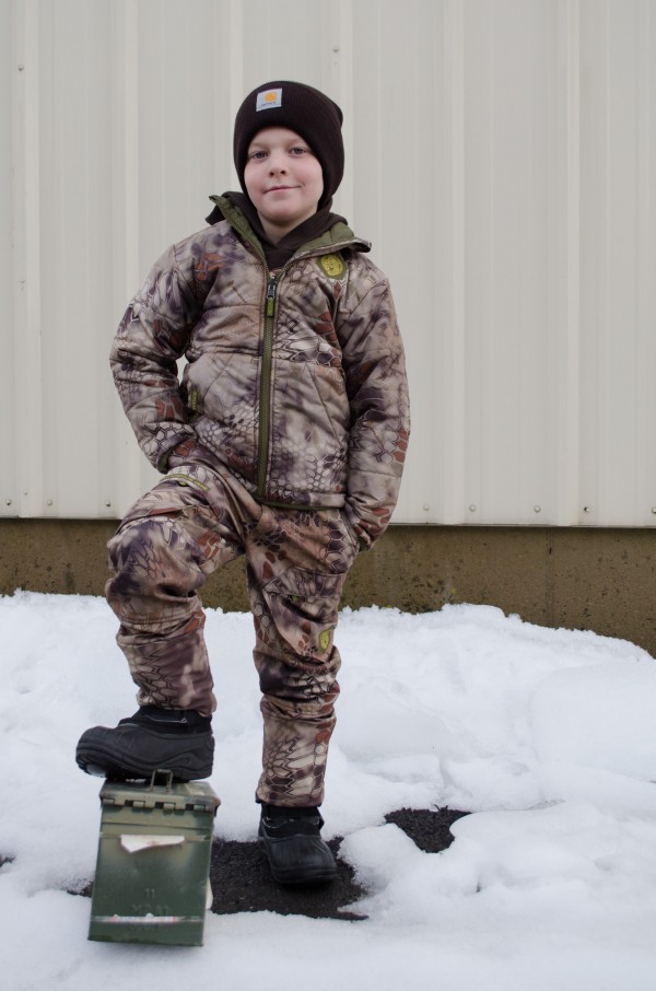 Sam wearing boys' Kryptek camo