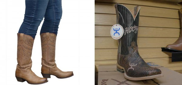 Showing Emily's Latigo Tucson boots from Tony Lama and Spencer's boots from Hooey.