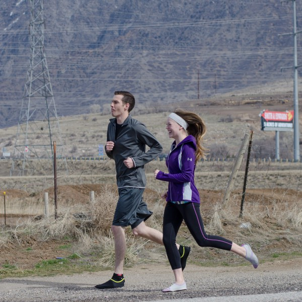 Brent & Jerica jogging by Smith & Edwards