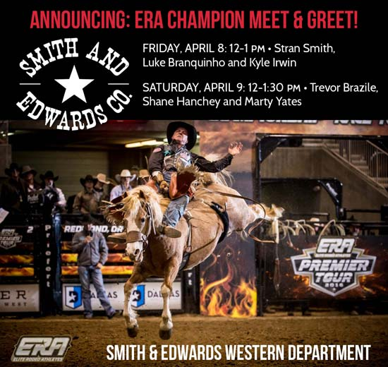 Meet Rodeo Cowboys at Smith & Edwards at the Saddle Sale!
