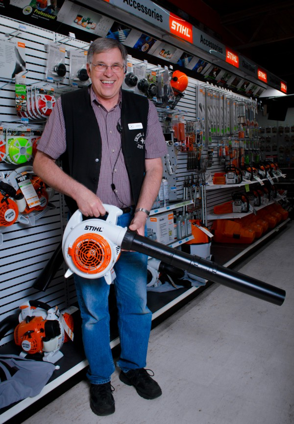 John and the Stihl leaf blowers at Smith & Edwards