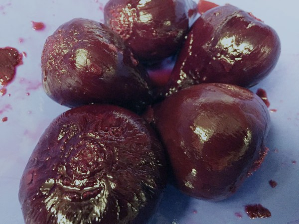 Whole peeled beets, ready to slice and freeze