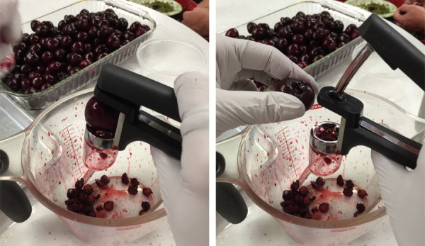 Pitting cherries with a cherry pitter - and GLOVES!
