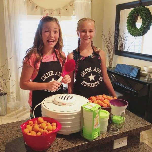 Maggie & Hannah about to make apricot jam and dehydrated apricots