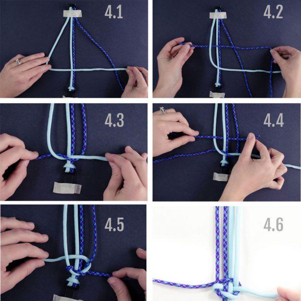 Finishing the bracelet beginning knot