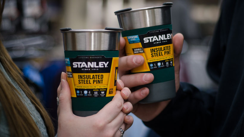 These Stanley insulated stainless steel pint cups have a grip built in. They come with a sipping lid, and keep your iced beverage cold for 4 hours!