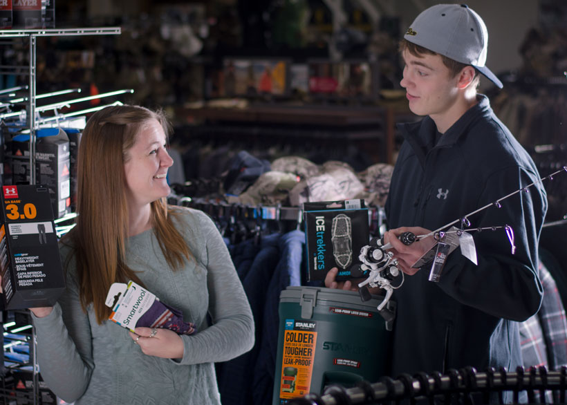 You'll find women's base layers for Columbia & Under Armour - perfect for ice fishing!