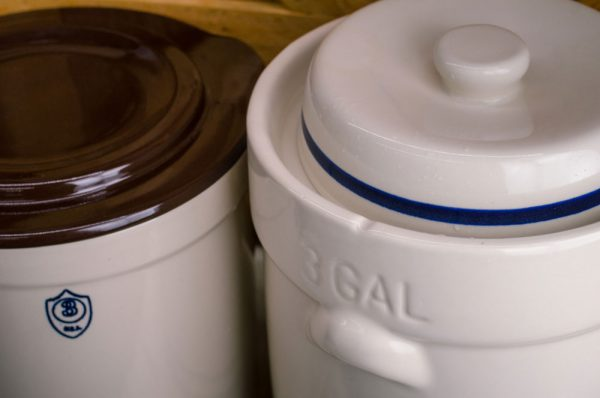 "Here's a look at the ""moat"" in a fermentation crock, or water seal crock."